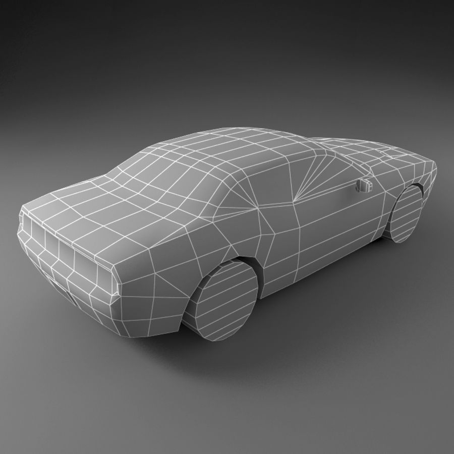 Car Low Polygon Dodge Challenger royalty-free 3d model - Preview no. 4
