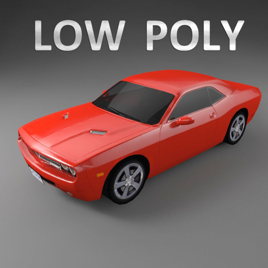 Samochód Low Polygon Dodge Challenger royalty-free 3d model - Preview no. 1