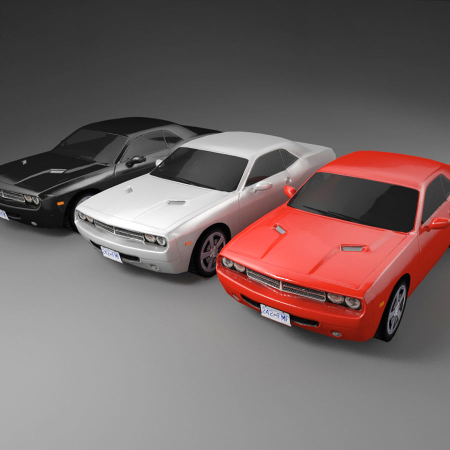 Car Low Polygon Dodge Challenger royalty-free 3d model - Preview no. 5