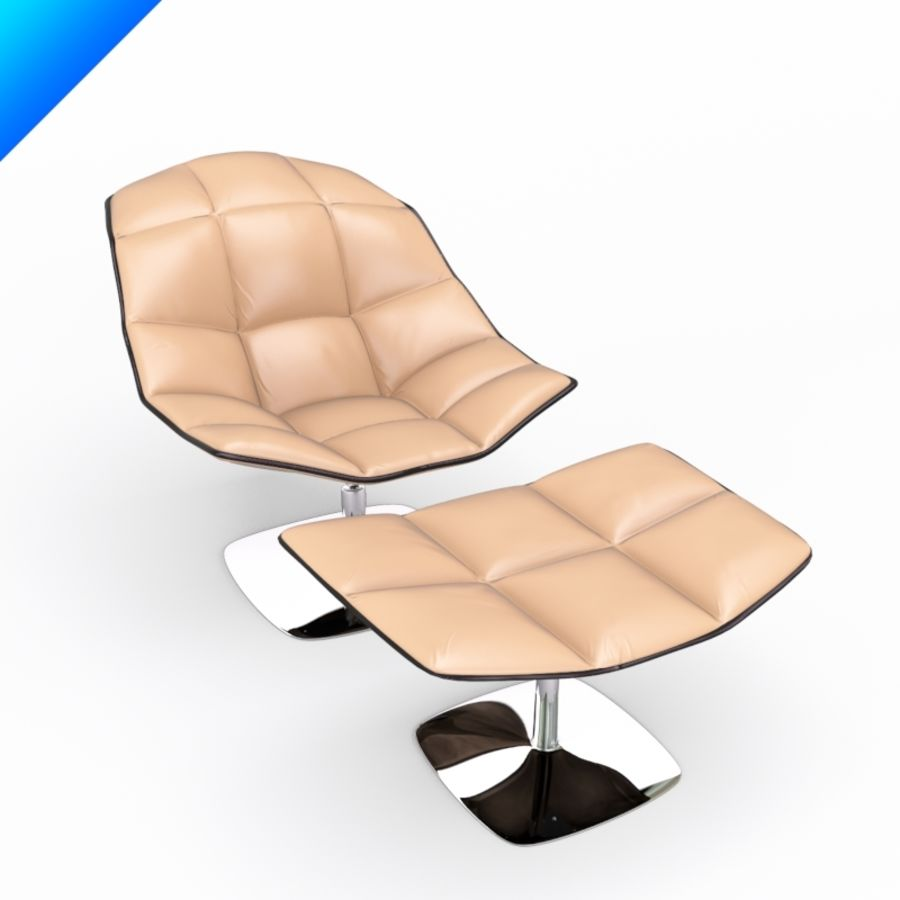 Jehs Laub Lounge Chair And Ottoman Pedestal Base Articulateing Back  Royalty Free 3d