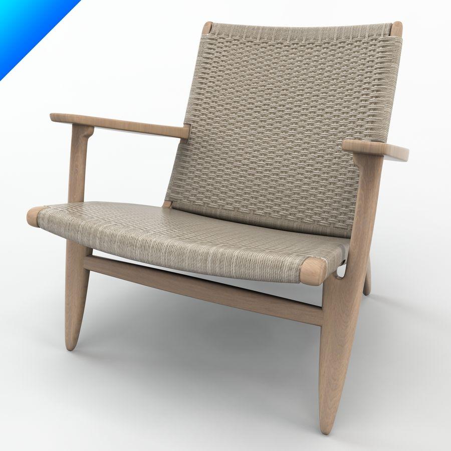 Hans Wegner Ch25安乐椅 royalty-free 3d model - Preview no. 8