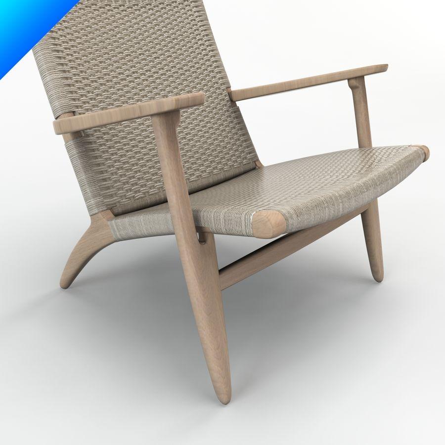 Hans Wegner Ch25安乐椅 royalty-free 3d model - Preview no. 7