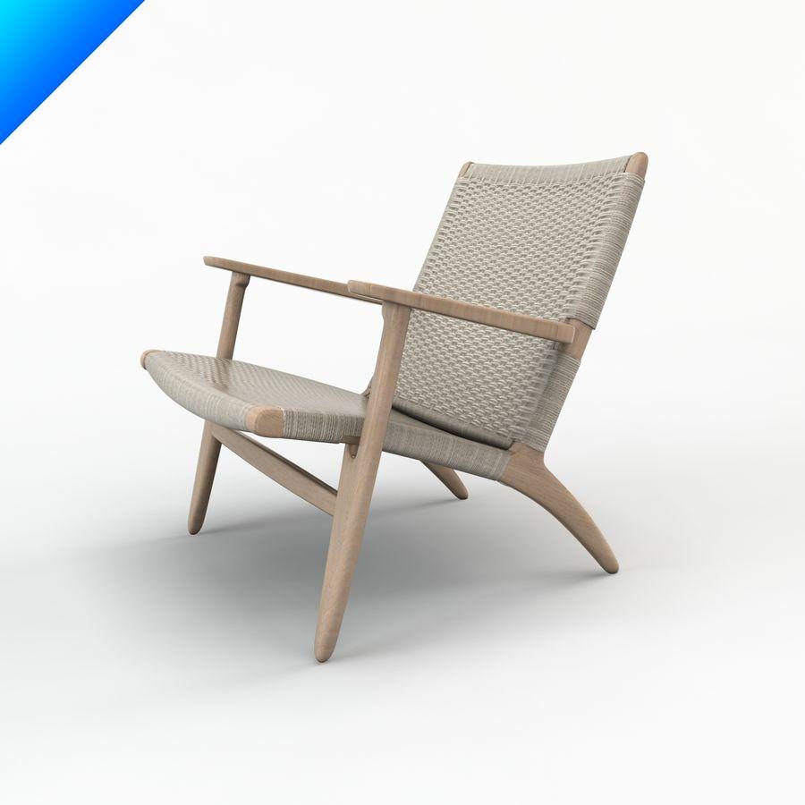 Hans Wegner Ch25安乐椅 royalty-free 3d model - Preview no. 4