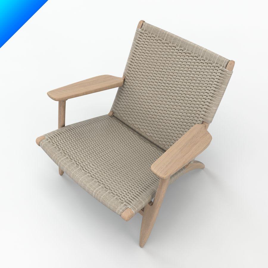 Hans Wegner Ch25安乐椅 royalty-free 3d model - Preview no. 5