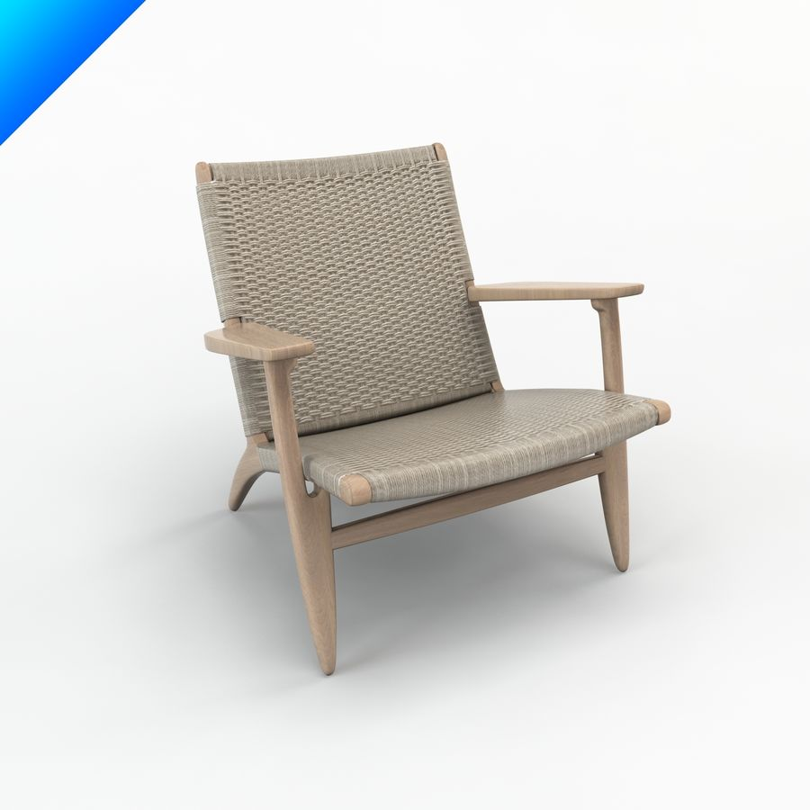 Hans Wegner Ch25安乐椅 royalty-free 3d model - Preview no. 1