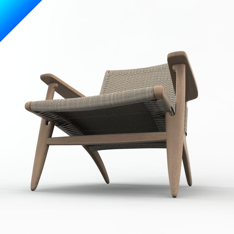 Hans Wegner Ch25安乐椅 royalty-free 3d model - Preview no. 6