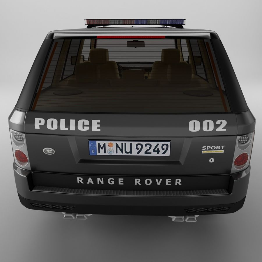 Range Rover Sport Police royalty-free 3d model - Preview no. 8