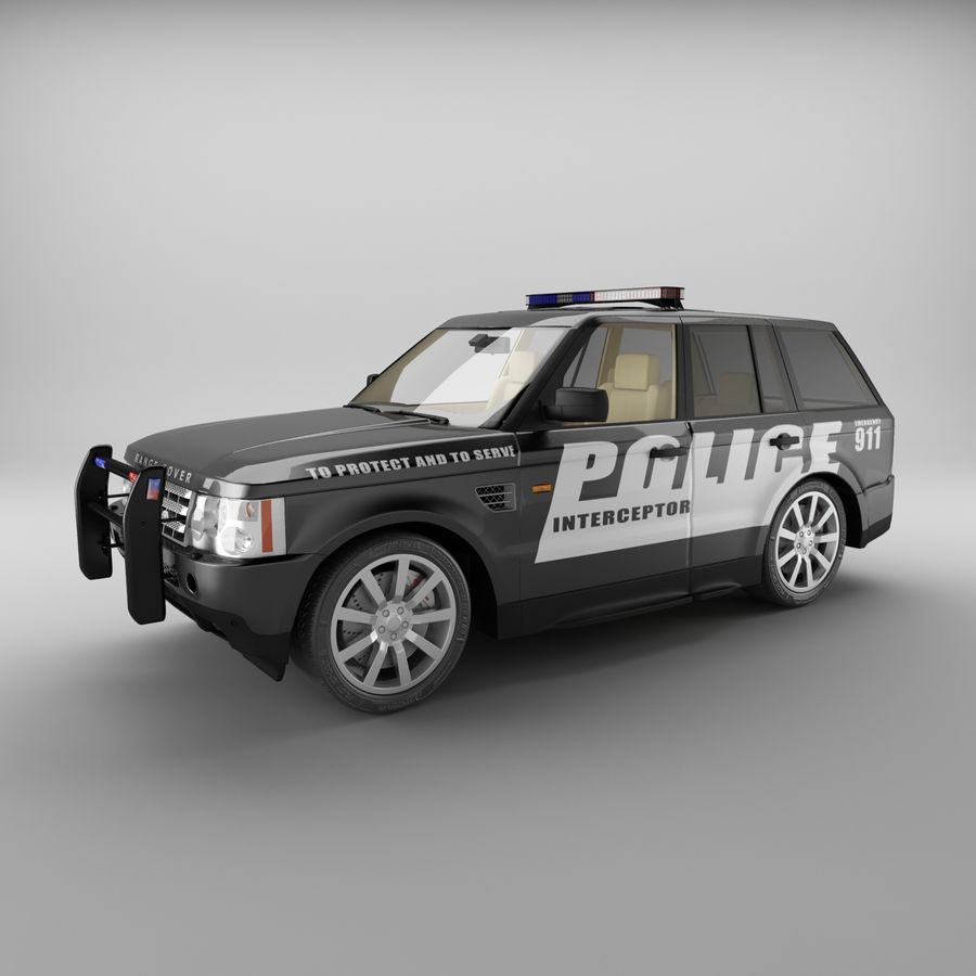 Range Rover Sport Police royalty-free 3d model - Preview no. 1
