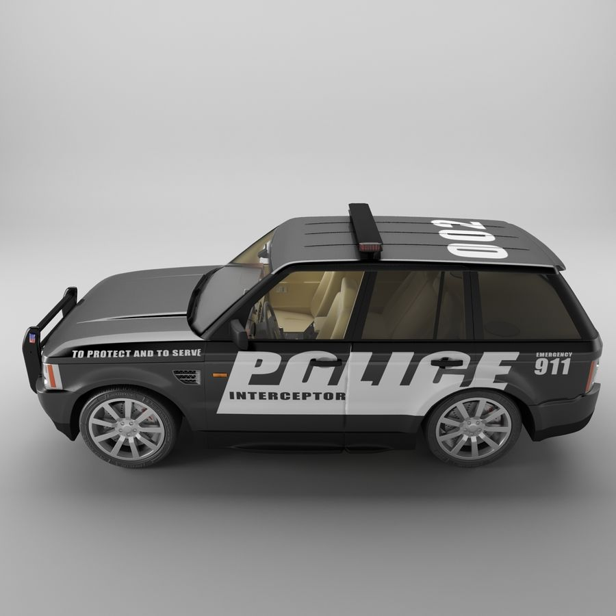 Range Rover Sport Police royalty-free 3d model - Preview no. 5