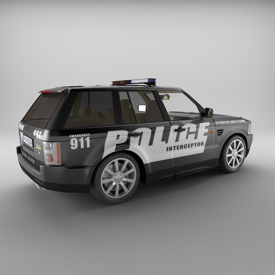 Range Rover Sport Police royalty-free 3d model - Preview no. 2