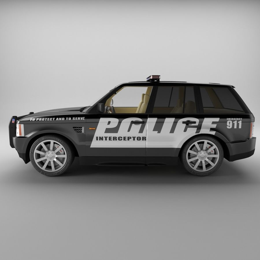 Range Rover Sport Police royalty-free 3d model - Preview no. 4
