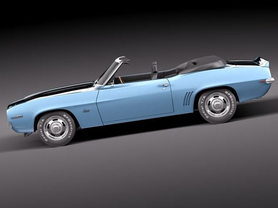Chevrolet Camaro 1969 SS cabriolet royalty-free 3d model - Preview no. 7