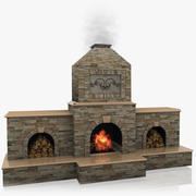 Animated Outdoor Fireplace 3d model