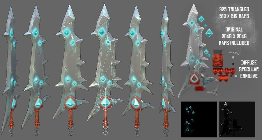 Fantasy Sword royalty-free 3d model - Preview no. 1