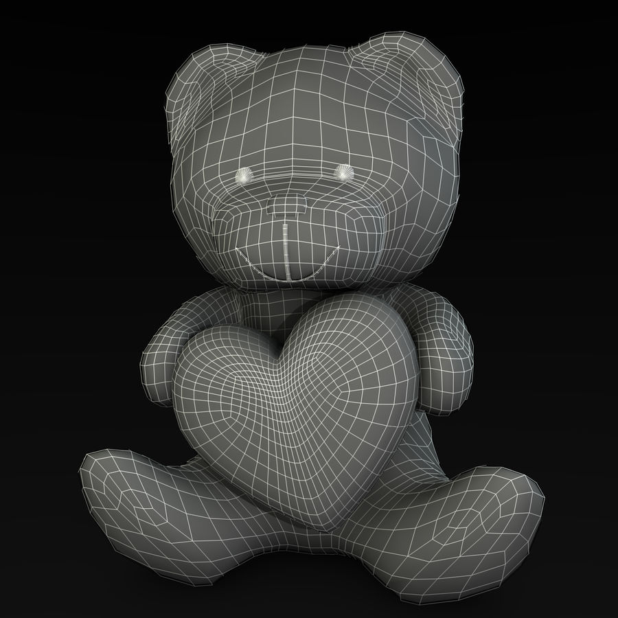 Медведь держит сердце royalty-free 3d model - Preview no. 7