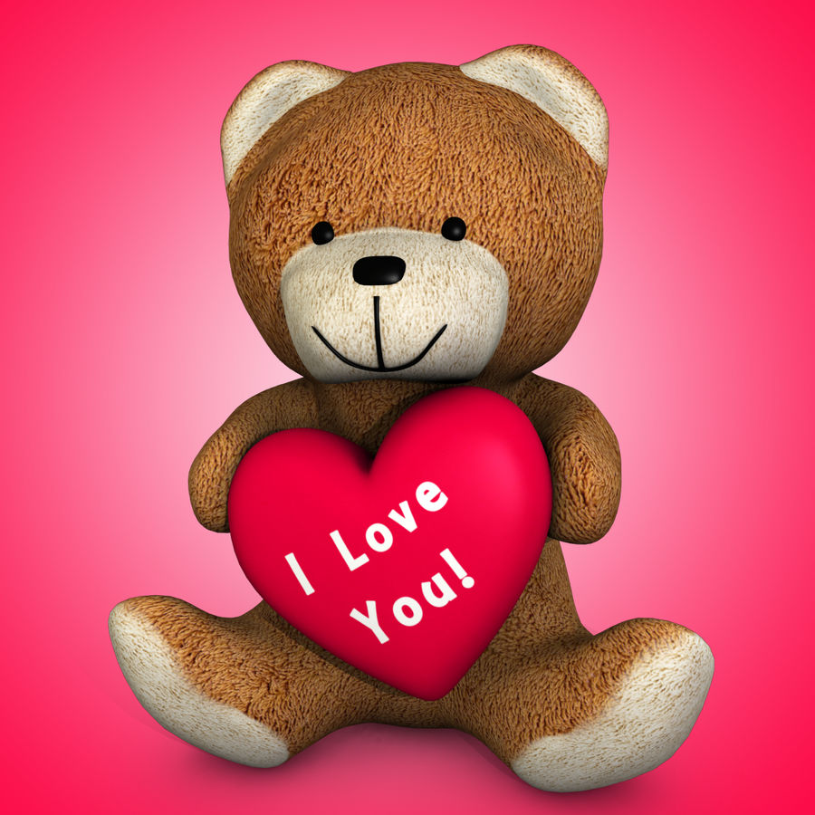 Медведь держит сердце royalty-free 3d model - Preview no. 2