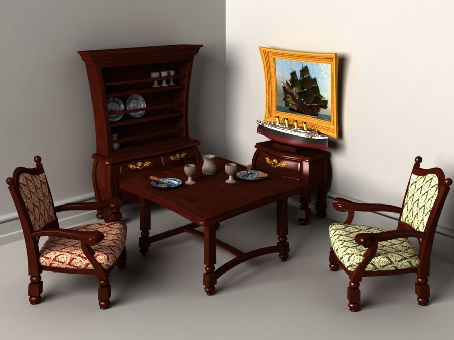 Çizgi film benzeri mobilya seti royalty-free 3d model - Preview no. 1