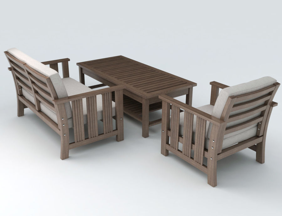 Patio Furniture set 1 royalty-free 3d model - Preview no. 2