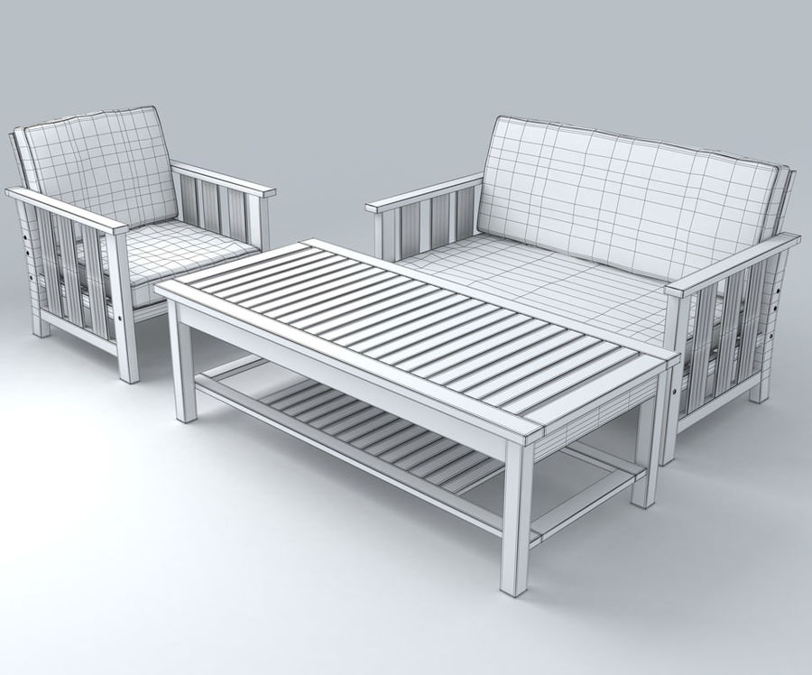 Patio Furniture set 1 royalty-free 3d model - Preview no. 5