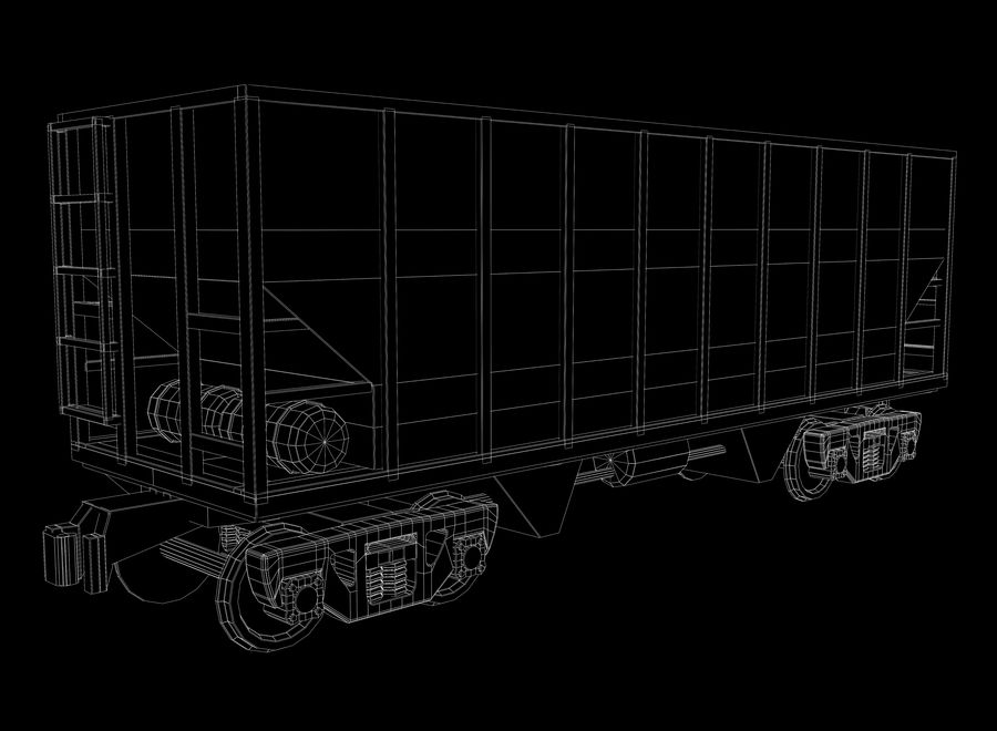 Freight Train royalty-free 3d model - Preview no. 18