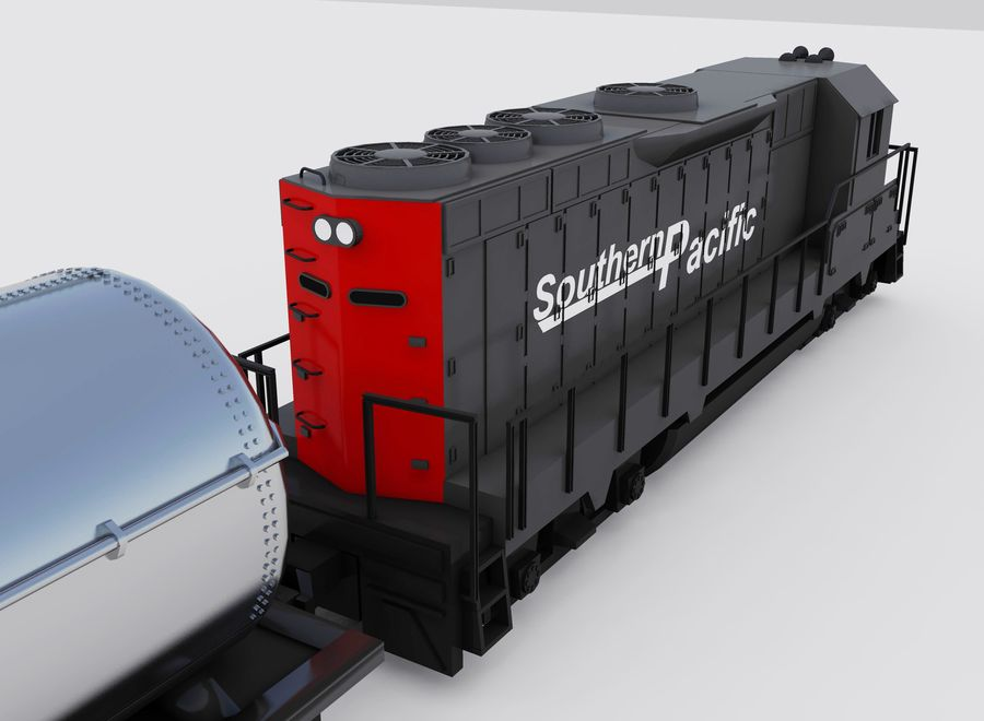 Freight Train royalty-free 3d model - Preview no. 2