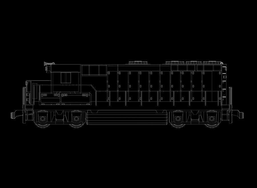 Freight Train royalty-free 3d model - Preview no. 28