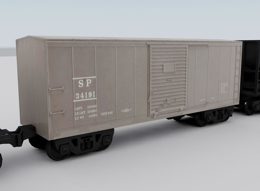 Freight Train royalty-free 3d model - Preview no. 12