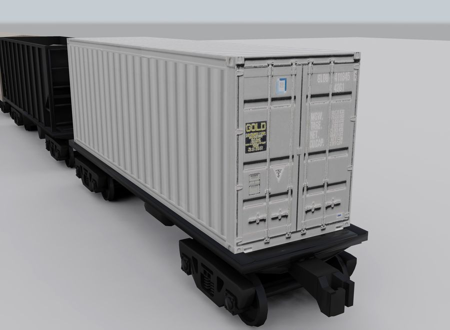 Freight Train royalty-free 3d model - Preview no. 14