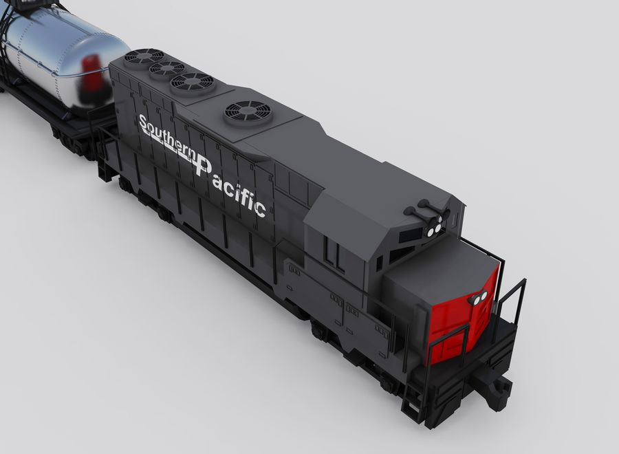 Freight Train royalty-free 3d model - Preview no. 3