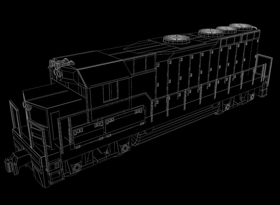 Freight Train royalty-free 3d model - Preview no. 25