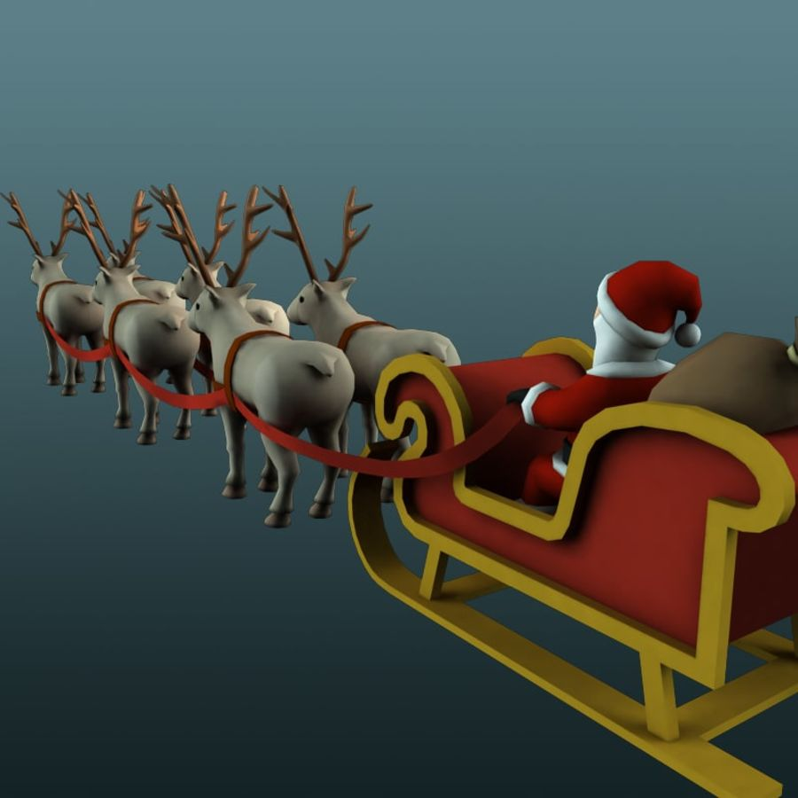 Trineo de santa royalty-free modelo 3d - Preview no. 3
