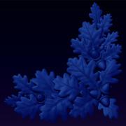 橡树叶和橡子浅浮雕 3d model