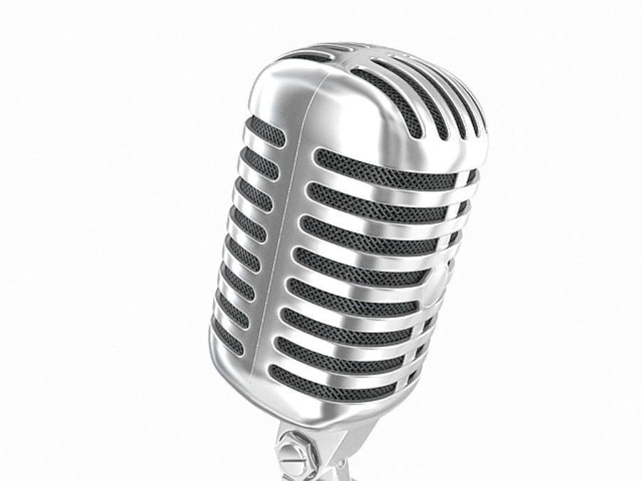 Retro microphone royalty-free 3d model - Preview no. 4
