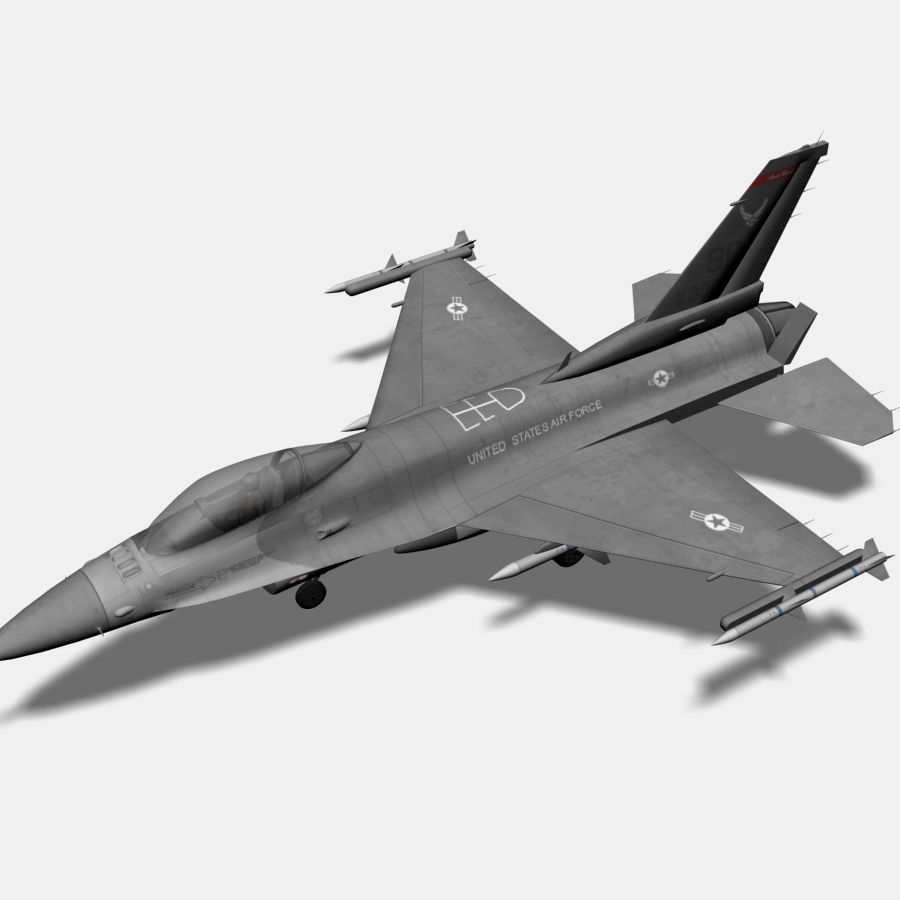Jato de caça F-16 royalty-free 3d model - Preview no. 1