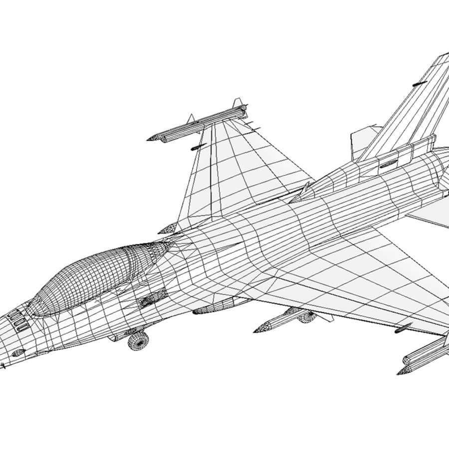 Jato de caça F-16 royalty-free 3d model - Preview no. 4