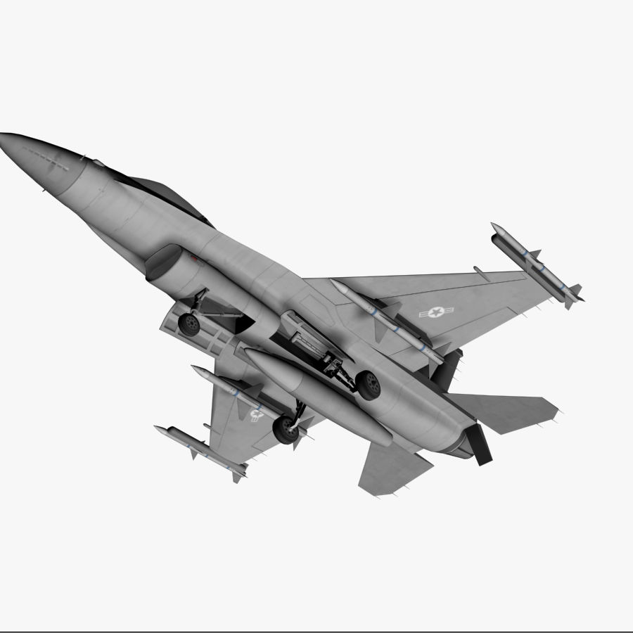 Jato de caça F-16 royalty-free 3d model - Preview no. 3