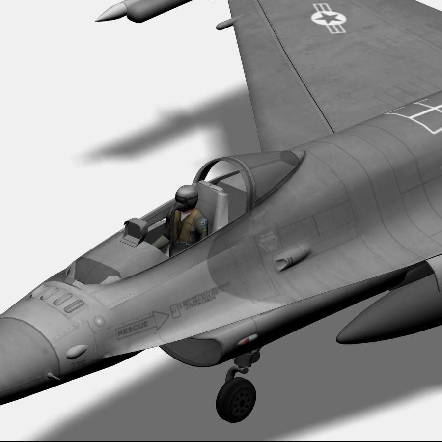 Jato de caça F-16 royalty-free 3d model - Preview no. 2