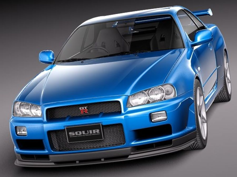 Nissan Skyline R34 GT-R royalty-free 3d model - Preview no. 2