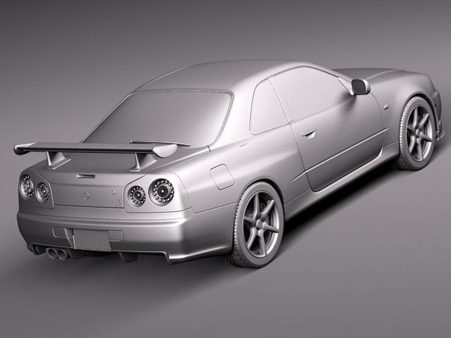 Nissan Skyline R34 GT-R royalty-free 3d model - Preview no. 12