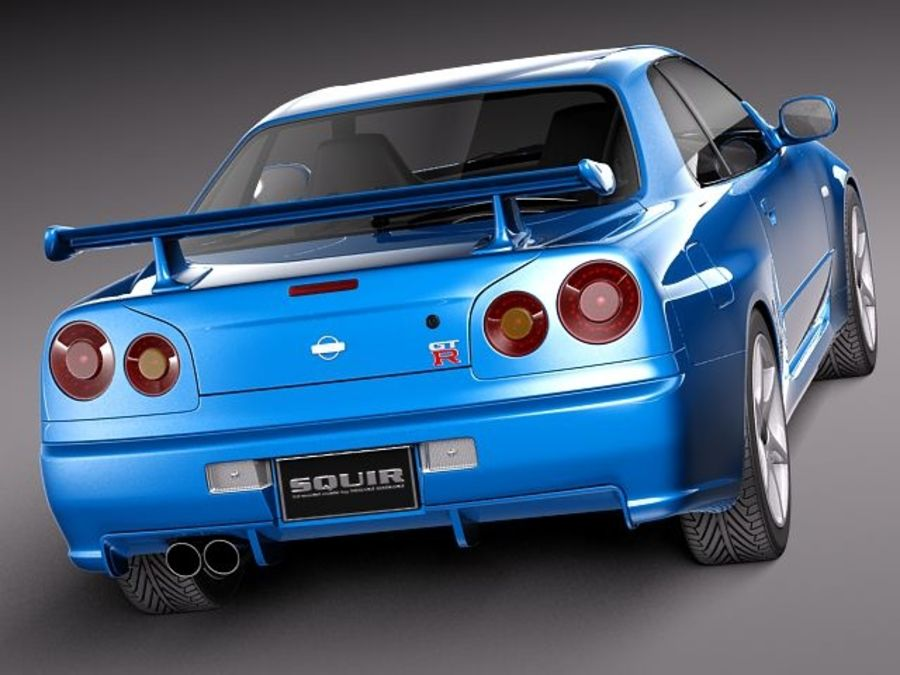Nissan Skyline R34 GT-R royalty-free 3d model - Preview no. 6
