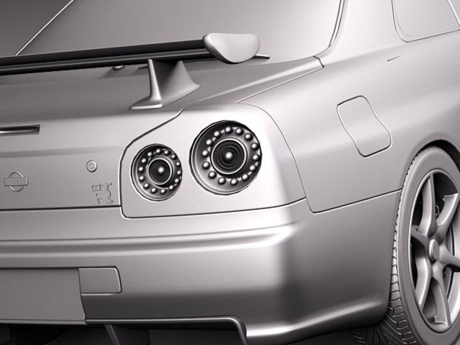 Nissan Skyline R34 GT-R royalty-free 3d model - Preview no. 11
