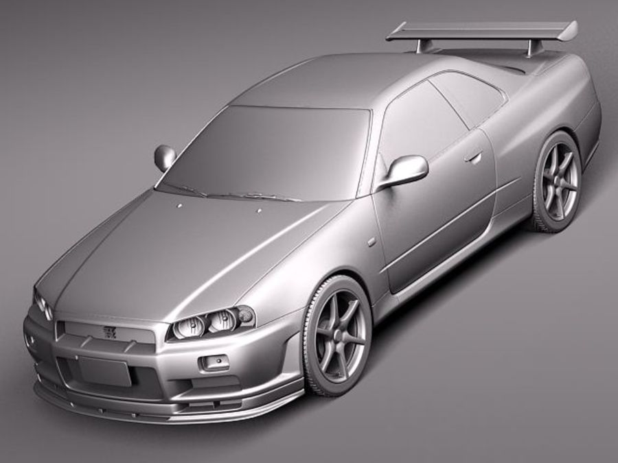 Nissan Skyline R34 GT-R royalty-free 3d model - Preview no. 9