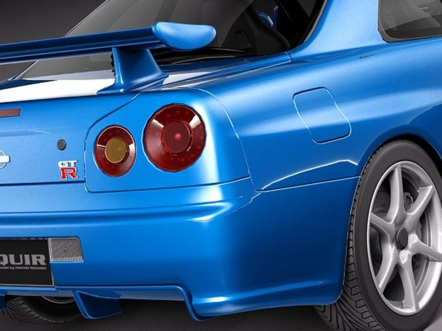 Nissan Skyline R34 GT-R royalty-free 3d model - Preview no. 4