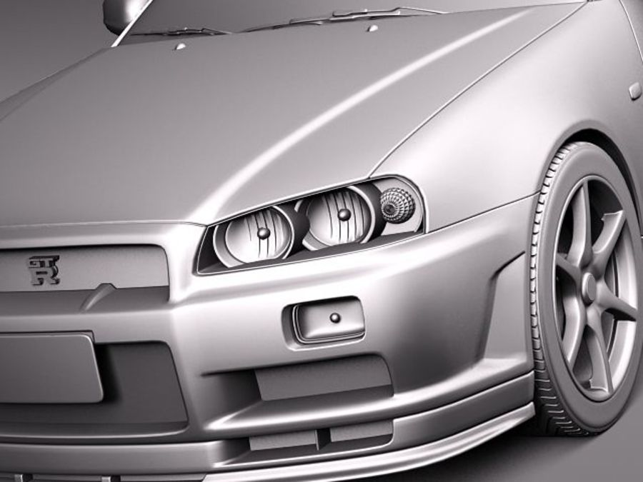 Nissan Skyline R34 GT-R royalty-free 3d model - Preview no. 10