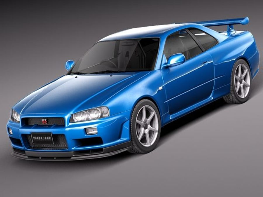 Nissan Skyline R34 GT-R royalty-free 3d model - Preview no. 1