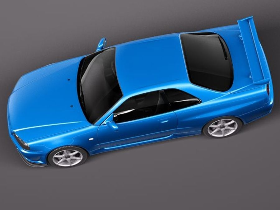 Nissan Skyline R34 GT-R royalty-free 3d model - Preview no. 8