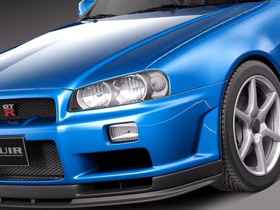 Nissan Skyline R34 GT-R royalty-free 3d model - Preview no. 3