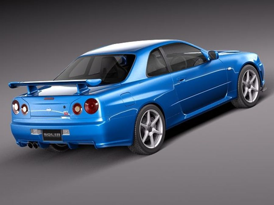 Nissan Skyline R34 GT-R royalty-free 3d model - Preview no. 5