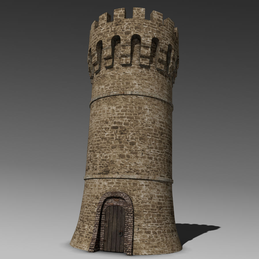 Medieval Castle Tower royalty-free 3d model - Preview no. 2