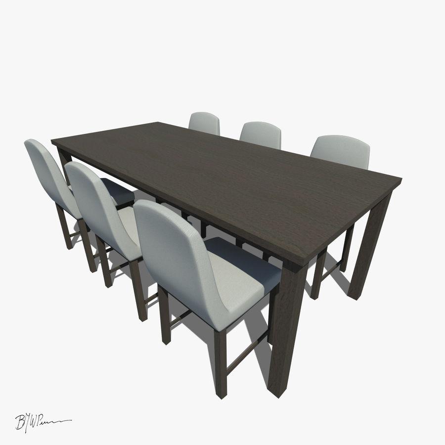 식탁과 의자 royalty-free 3d model - Preview no. 1
